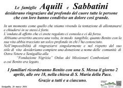 Il manifesto di ringraziamento delle famiglie Aquili e Sabbatini