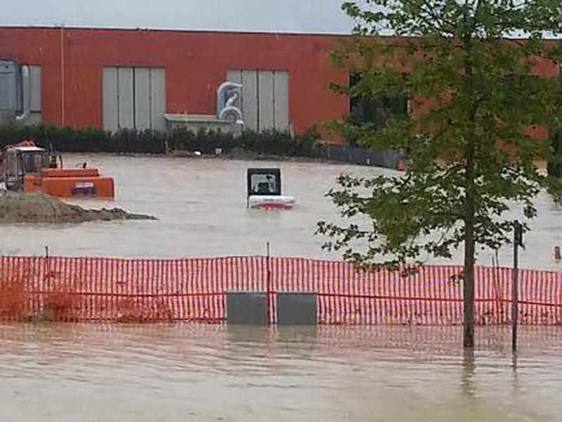 L'area della zipa a Casine d'Ostra durante l'alluvione del maggio 2014
