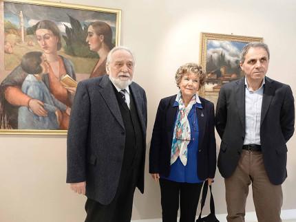 Dacia Maraini in visita al museo De' Nobili di Trecastelli: da sx Bugatti, Maraini e Conigli