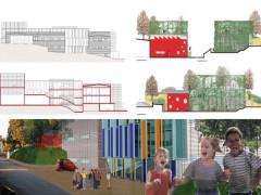 Il prospetto del progetto per la palestra della scuola elementare Crocioni di Ostra