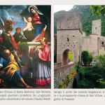 A sinistra San Michele, l'Arcangelo guerriero protettore dei Longobardi, nel dipinto seicentesco del veneto Claudio Ridolfi custodito a Barbara (Chiesa di Santa Barbara); a destra il ponte di Pierosara e la prospiciente chiesa di San Vittore, presso le grotte di Frasassi, a Genga
