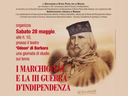 La locandina dell'incontro sui marchigiani e la III Guerra d'indipendenza a Barbara