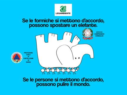 """La locandina dell'iniziativa di volontariato ambientale """"Puliamo il mondo"""" a Castelleone di Suasa"""