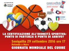 La locandina del convegno sulla certificazione all'idoneità sportiva che si terrà a Senigallia il 29 settembre in occasione della Giornata mondiale del Cuore