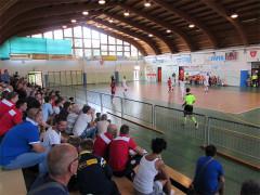 Un momento del match tra Corinaldo C5 e PSG Potenza Picena