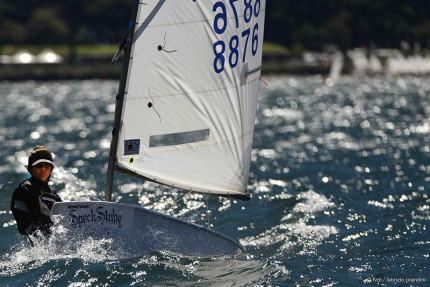 Marco Gambelli in una delle regate del campionato regionale classe optimist