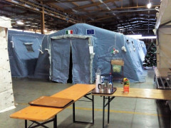 Il campo di accoglienza a Montefortino (FM), dopo il sisma del 30 ottobre 2016
