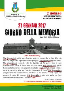 Il manifesto a Castelleone di Suasa per il Giorno della Memoria, il 27 gennaio 2017