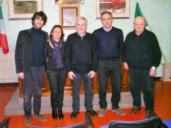 Il direttivo dell'associazione Terre di Frattula 2017-2020. Da sinistra: Matteo Principi, Luana Pedroni, Marco Giardini, Fausto Conigli, Fulvio Sebastianelli