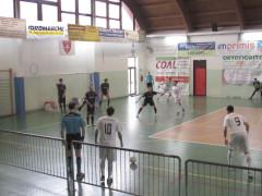 Un momento del match tra Corinaldo C5 e Torresavio Futsal Cesena