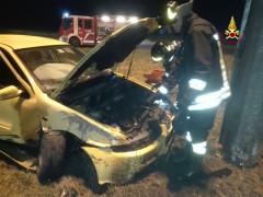 L'incidente alla rotatoria a Pianello di Ostra