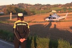 L'eliambulanza giunta sul luogo dell'incidente avvenuto a Corinaldo