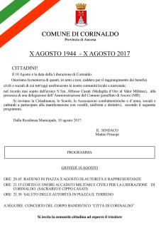 Il Comune corinaldese commemorerà il prossimo 10 agosto la liberazione di Corinaldo dall'oppressione nazifascista: il manifesto