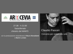 """Locandina del """"Concerto per violoncello solo"""" del violoncellista Claudio Pasceri promosso da AR[t]CEVIA e Happennines"""