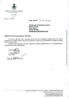 Pubblicazione piano emergenze: risposta del Comune di Ostra Vetere