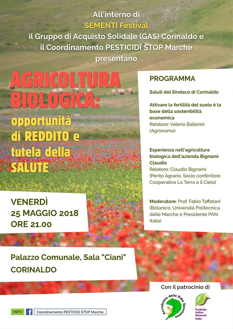 Agricoltura biologica: opportunità di reddito e tutela della salute, a Sementi Festival a Corinaldo - locandina