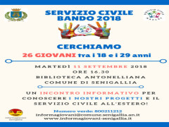 Servizio civile 2018, incontro a Senigallia
