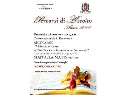 Domenica 28 ottobre alle ore 17,00 Manuela Matis in concerto