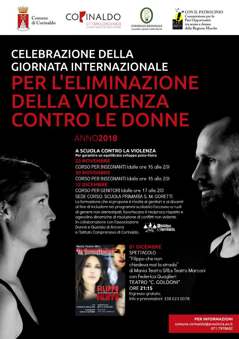 Corinaldo celebra la giornata contro la violenza sulle donne - locandina