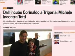 Michele Fiscaletti sulle pagine della gazzetta con Totti