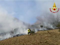 Sassoferrato, incendio nel sottobosco: sul posto i Vigili del Fuoco