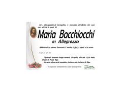 Si è spenta a 92 anni Maria Bacchiocchi in Allegrezza