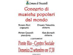 Concerto di musiche popolari dal mondo al Centro Sociale di Ponte Rio
