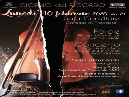 Locandina del concerto a Trecastelli in occasione del Giorno del Ricordo