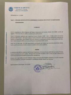 Ordinanza di chiusura della scuola di Arcevia per sanificazione