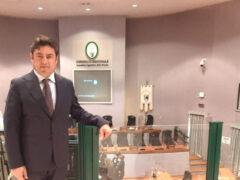 Luca Santarelli in sala del Consiglio Regionale delle Marche
